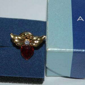 Gold ruby heart wings pin AVON